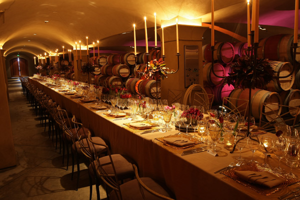 Gala dinner in a wine cave, Napa Valley